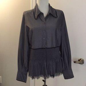 Pretty grey blouse with black trim